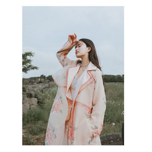 Wholesale Women Spring Autumn New Vintage Sweet Organza Pink Long Trench Ladies Casual Loose Floral Print Mori Girl Coat Outerwear coat