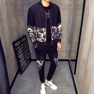 Wholesale 2019 New Casual Men Sets Fashion Print Tracksuit Men Survetement Homme Mens Sweat Suits Set Zipper Large Size XL Vetement Homme