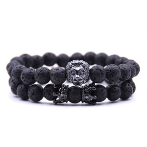 Wholesale paracord charms for sale - Group buy 2PCS set bead Charm bracelet buddha bracelets paracord natural stone lion bracelet men pulseras hombre bracciali uomo mens bracelets