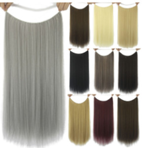 Chemical Fiber Fish Line Hair Curtain Wig Piece Long Straight Hair No Trace Hair Piece High Temperature Silk Cute Hairpin Fashion Color jooy