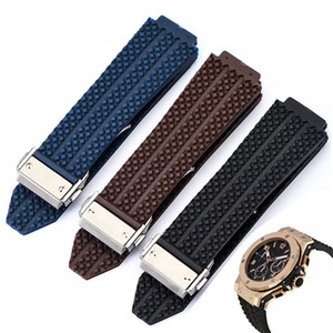 Watch Accessories 25mm*19mm Men Stainless Steel Deployment Buckle Brown White Blue Diving Silicone Rubber Watch Band Strap for HUB Big Bang