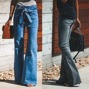 Women Flare Jeans High Waist Wide Leg Vintage Jeans Bellbottoms Plus Size S-4XL with Belt Fashion Stretch Denim Trousers Autumn Spring 2019