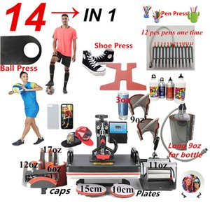 Wholesale 14 ALL in Heat press Machine Sublimation pen press machine Heat Transfer Machine for ball Shoes Cap Mug Plate Tshirts cases