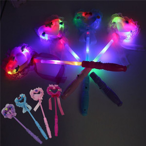 Wholesale Kids Toy Glowing Stick Led Lights Girl Toys Lace Bow Plastic Love Shape Party Festival Flash Stick Continuous Illumination For Hours