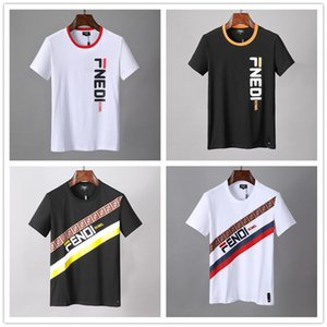 Wholesale 2018 Newest Sellers Summer luxury Dual F Alphabet Printing tshirt men and women fashion Top Designer men T shirt