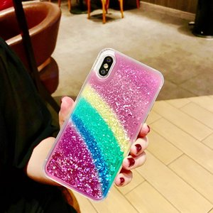 Wholesale Cell Phone Cases new Rainbow sequins liquid case for the iPhone x mobile phone case plus s creative package p Korea