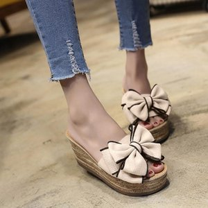 Wholesale kitten heel wedge sandals for sale - Group buy SAGACE Women Fashion Solid Color Bow Wedges Slipper Open Toe Sandals Kitten Heels Shoes Fashion Female Beach Shoes Mujer