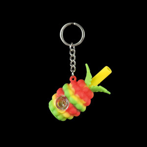 Wholesale 2 smoking pipe pineapple Hookahs silicone hand pipes Glass Bong Water Pipes glass bowl tobacco Oil Rigs Portable with keychain