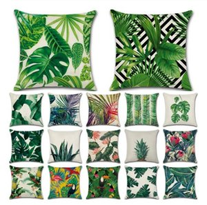 Wholesale Tropical Plants Cactus Monstera Summer Decorative Throw Pillows Cotton Linen Cushion Cover Palm Leaf Green Home Decor Pillowcase