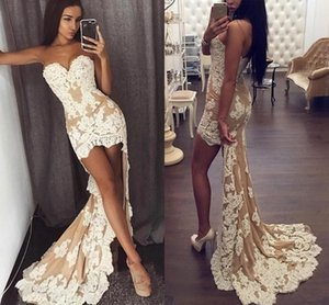 Wholesale 2019 New Arrival High Low Prom Dresses Sweetheart Sheath Sleeveless Champagne with Ivory Appliques Party Cocktail Evening Gowns Wear