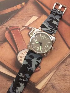 Hot Outdoor Special Style Square Silver Case Simple Mens Watch Automatic Men Wrist Watches Coffee Dial With Wide Camouflage Rubber Strap