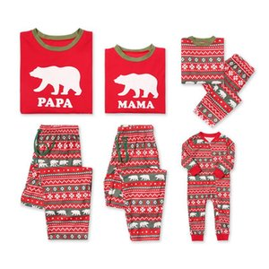 Wholesale DHL Family matching Christmas pajamas set Red Bear Nightclothes Pajamas Sleepwear for Men women Child A02