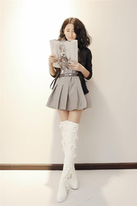 free ship! B064 34 2 COLORS GENUINE LEATHER 3D FLOWERS stretch THIGH BOOTS black white flat high