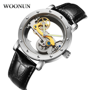 Woonun Waterproof Mechanical Watches Men Transparent Tourbillon Automatic Mechanical Skeleton Wrist Watches Relogio Masculino J190706 on Sale