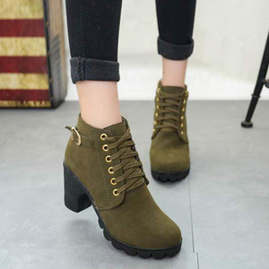 High Fashion Lace Up Side Zipper Shoes High Heel Women Round Toe Anti Slid Sole Buckle Autumn Winter Ankle Boots