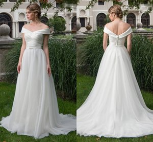 Wholesale 2019 Country Wedding Dresses Off the shoulder with Sleeves Beaded Ruched Court Train Vestido De Novia Wedding Dress Bridal Gowns Cheap