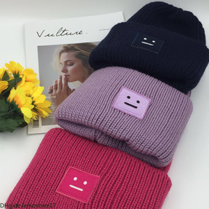 Wholesale 11 colors winter hat outdoor warmth cap square face Expression label knit wool cap thickened warmth trend party hat free shipping