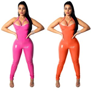 Wholesale New Shiny Vinyl Faux Patent Leather Stretch Clubwear Bodysuit Jumpsuit Wet Look