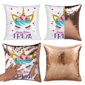 Unicorn Sequins Pillow Case Reversible Pillow Cover Mermaid Sequin Pillowcase Sofa Cushion Unicorn Decorative Pillow covers GGA2001 on Sale