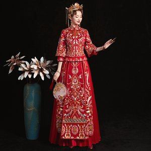 Wholesale Vintage Embroidery Oriental Lady Qipao Chinese Royal Bride Pleated Dress Traditional Marriage Cheongsam Suit Toast Clothing
