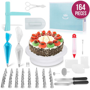 164PCS Set Multifunction Cake Turntable Set Cake Decorating Tools Kit Pastry Nozzle Fondant Tool Kitchen Dessert Baking Supplies