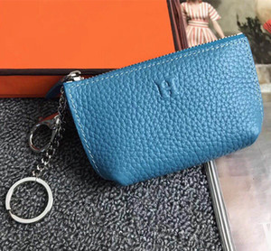 7 Color Lady Zipper Coin Wallet Paris Style Designer Famous Unisex Coin Purses Real Leather Wallets Men Women Mini Key Wallets With Box