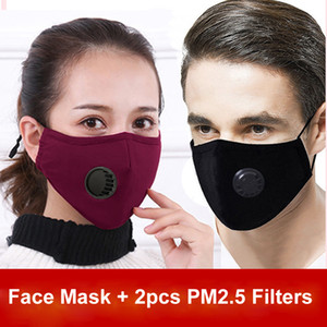 Free DHL Washable Face Masks Anti-Dust Smoke Outdoor Indoor Adjustable Reusable Protection with 2pcs PM2.5 Filters Mouth Mask for Women Man