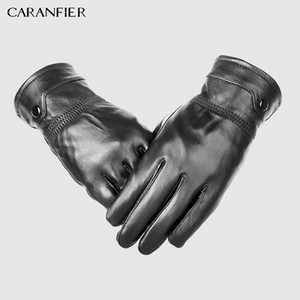 CARANFIER Mens Genuine Sheepskin Gloves Winter Outdoor Thick Thermal Warm Men Gloves Can Play Touch Screen Driving Bike Riding