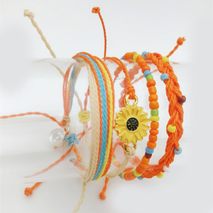 4 PCS Handmade Rope Bracelet Set Women's Waterproof Wax Coating Braided Sleeve Bracelet Bohemian Jewelry Gifts