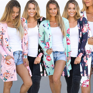Wholesale Women Long Sleeve Shirt Women Designer Clothing Printed Outer Wear Mid Long Cardigan Slim Coat Flower Tops