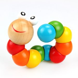 Wholesale Worm Twist Puppet Cognition Wood Gift Colorful Playmate Caterpillar Changeable Shape Kids Educational Fun Baby Toy Birthday Gifts Intelligen