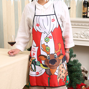 Wholesale Christmas Apron Bell Skirt Deer Pattern Home Women Cooking Funny Sexy Decoration