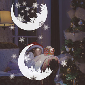 Christmas Wreath Wall Stickers Window Glass Section Applique Christmas Snow Mural Art New Year Decoration on Sale