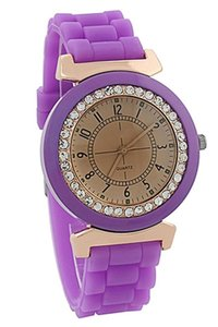 Wholesale Hot AMS Silicone Crystal Stone Quartz Women s Wrist Watch Pink