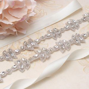 MissRDress Hand Beaded Wedding Sashes Belt Silver Crystal Rhinestones Ribbon Bridal Belt Sashes For Wedding Dresses YS870