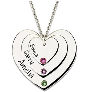 Wholesale Personalized Heart Pendant Name Necklace with Birthstone Custom Family Necklace Heart Necklace Mother s Day gift EW40