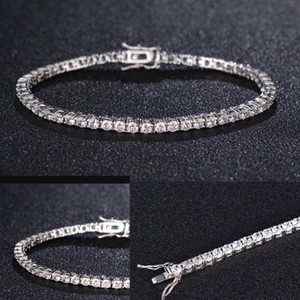 Wholesale sterling silver tennis resale online - Zircon mm Men Tennis bracelet Solid Sterling Silver tennis chains Mens Hip hop Tide Bracelets inch silver Jewelry Gifts