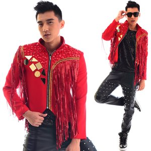 Wholesale Red stand collar men suits designs tassels stage costumes for singers men sequin blazer dance clothes jacket dress punk