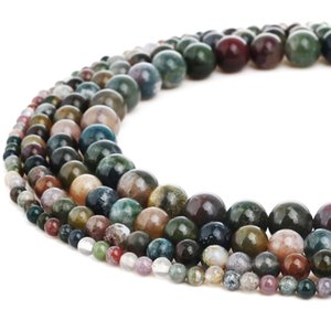 Natural Stone Labradorite Beads Round Indian Agate Gemstone Loose Beads for DIY Bracelet Jewelry Making 1 Strand 15 Inches 4-10 mm