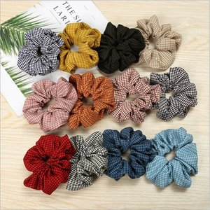 Wholesale Scrunchy Hairbands Plaid Scrunchie Ponytail Headband Grid Hair Holder Rope Headdress Rubber Band Fashion Houndstooth Hair Accesorios A4853