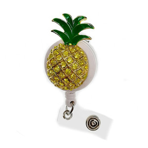 Wholesale 10pcs Enamel Rhinestone Pineapple Shape Retractable Badge Reel Holder Clip Medical Nurse Name Badge Reel