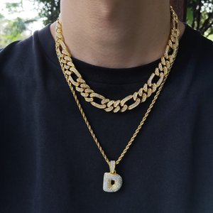 Hip Hop Bling Chains Jewelry Men Iced Out Chains Rap Personality Alloy Diamond NK3: 1 Figaro Cuban Link Necklace Bracelet