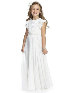 Wholesale Fancy Chiffon Flutter Sleeves white Flower Girls first communion Dresses kids long pageant party wedding ball gowns