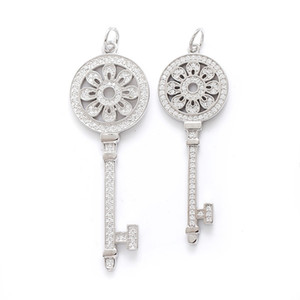 Wholesale s925 diamond pendant for sale - Group buy S925 Sterling Silver Keys Petals Key Pendant Necklace with Diamonds Silver Necklaces Best Valentines gift for women
