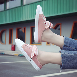 Wholesale Womens Slip On Canvas Shoes Sweet Girls Casual Loafers Flat Walking Shoes Round Toe Fashion Sankers KS32
