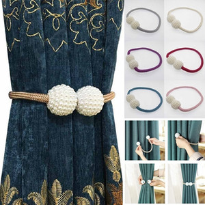 New Fashion 10 pcs Magnetic Curtain Strap Buckle Bind Curtain Holder Pearl Beads Tiebacks Tie Backs Clips Simple Home Decoration Wholesale