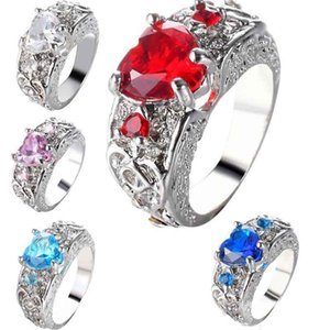 Wholesale Crystal Love Heart Ring Heart Shape Diamond Rings Fashion Jewelry for Women Gift