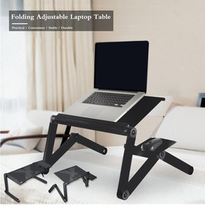 Universal Aluminum Computer Desk Portable Adjustable Foldable Laptop Notebook Lap PC Easy Carry Folding Desk Table Vented Stand Bed Tray