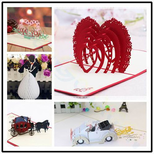 Wholesale 3D pop up card Valentine s Day wedding greeting card Paper cutting Heart shaped Paper Invitation Card Party Decorations