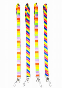 Wholesale Very beautiful rainbow Colorful neck Lanyard for ID Key chain Cell Phone Neck Strap Lanyards